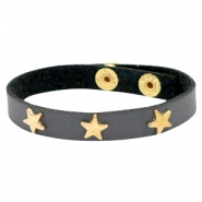 Armband met studs star gold Dark graphite grey