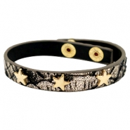 Armband reptile met studs star gold Metallic black gold