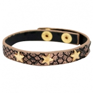 Armband reptile met studs star gold Metallic black rose gold