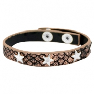 Armband reptile met studs star silver Metallic black rose gold