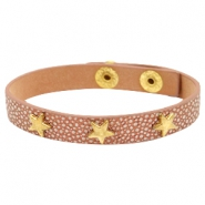 Armband reptile met studs star gold Metallic brown rose gold