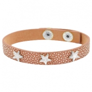 Armband reptile met studs star silver Metallic brown rose gold