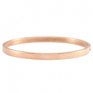 Stainless steel armband met bloemmotief roestvrij staal (RVS) Rosegold
