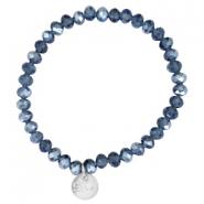 Facet armbanden Sisa top quality 6x4mm (RVS hangertje) Montana blue-pearl diamond coating