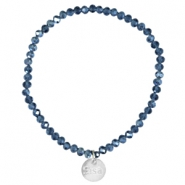 Facet armbanden Sisa top quality 4x3mm (RVS hangertje) Montana blue-pearl diamond coating