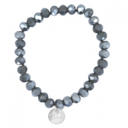 Facet armbanden Sisa top quality 8x6mm (RVS hangertje) Dark grey opal-pearl diamond coating