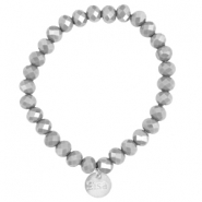 Facet armbanden Sisa top quality 8x6mm (RVS hangertje) Grey opaque-pearl diamond coating