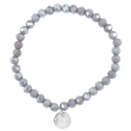 Facet armbanden Sisa top quality 6x4mm (RVS hangertje) Grey shade topaz-pearl diamond coating