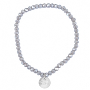 Facet armbanden Sisa top quality 4x3mm (RVS hangertje) Grey shade topaz-pearl diamond coating