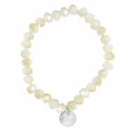 Facet armbanden Sisa top quality 8x6mm (RVS hangertje) White alabaster-light gold diamond coating