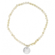 Facet armbanden Sisa top quality 4x3mm (RVS hangertje) White alabaster-light gold diamond coating