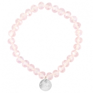 Facet armbanden Sisa top quality 8x6mm (RVS hangertje) Pink champagne-pearl diamond coating