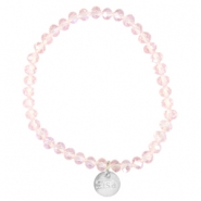 Facet armbanden Sisa top quality 6x4mm (RVS hangertje) Pink champagne-pearl diamond coating