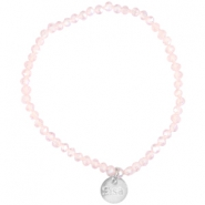 Facet armbanden Sisa top quality 4x3mm (RVS hangertje) Pink champagne-pearl diamond coating