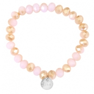 Facet armbanden Sisa top quality 8x6mm (RVS hangertje) Rose alabaster-half champagne gold diamond coating