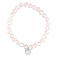 Facet armbanden Sisa top quality 8x6mm (RVS hangertje) Light pink champagne opal-pearl diamond coating