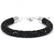 Armband 8mm crystal diamond Jet black