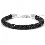 Armband 7mm crystal diamond Jet black