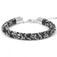 Armband 8mm crystal diamond Jet black-labrador silver