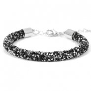 Armband 7mm crystal diamond Jet black-labrador silver