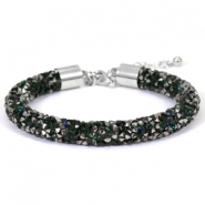Armband 8mm crystal diamond Deep emerald green-anthracite