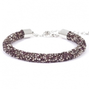 Armband 7mm crystal diamond Amethyst-anthracite