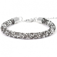 Armband 7mm crystal diamond Violet grey-silver