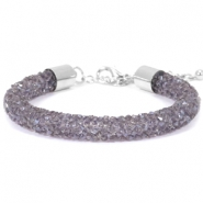 Armband 8mm crystal diamond Purple velvet