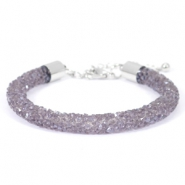 Armband 7mm crystal diamond Purple velvet