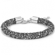 Armband 8mm crystal diamond Black diamond-anthracite