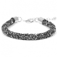 Armband 7mm crystal diamond Black diamond-anthracite