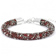 Armband 8mm crystal diamond Siam red-anthracite