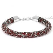 Armband 7mm crystal diamond Siam red-anthracite
