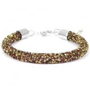 Armband 8mm crystal diamond Greige-brons