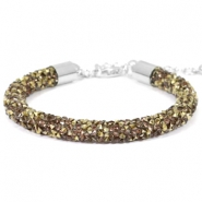 Armband 7mm crystal diamond Greige-brons