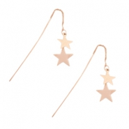 Musthave Oorbellen stars & chain Rosegold