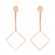 Musthave Oorbellen studs & chain square Rosegold