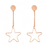 Musthave Oorbellen studs & chain star shape Rosegold