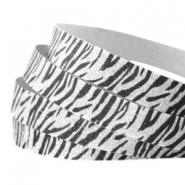 Tape van Crystal Glitter animal print 10mm Silver-black