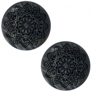 12 mm platte Polaris Elements cabochon Mandala print matt Black anthracite
