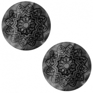 12 mm platte Polaris Elements cabochon Mandala print matt Black silver