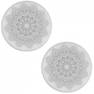 12 mm platte Polaris Elements cabochon Mandala print matt White grey