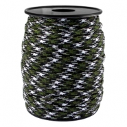 Trendy koord rond Paracord 4mm Army green-zwart wit
