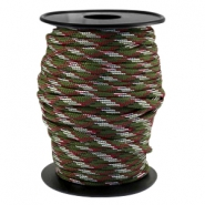 Trendy koord rond Paracord 4mm Army green-aubergine wit