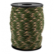 Trendy koord rond Paracord 4mm Army green-beige zwart