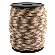 Trendy koord rond Paracord 4mm Beige-dark brown