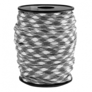 Trendy koord rond Paracord 4mm Grijs-wit