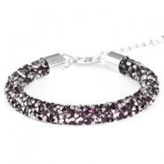 Armband 8mm crystal diamond Dark amethyst-anthracite