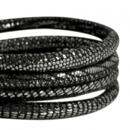 Nappa leer DQ gestikt reptile 6x4mm Black-anthracite silver