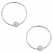 Musthave oorbellen hoops with ball Zilver